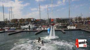 """La Rochelle. """"Retour en images"""" pendant le Défi Atlantique 2019. Démonstration de Fly-board par Jimmy CORRE"""