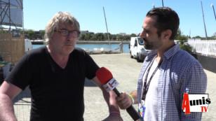 Francofolies 2019 de La Rochelle. Avec Gérard PONT, le directeur du festival à vélo
