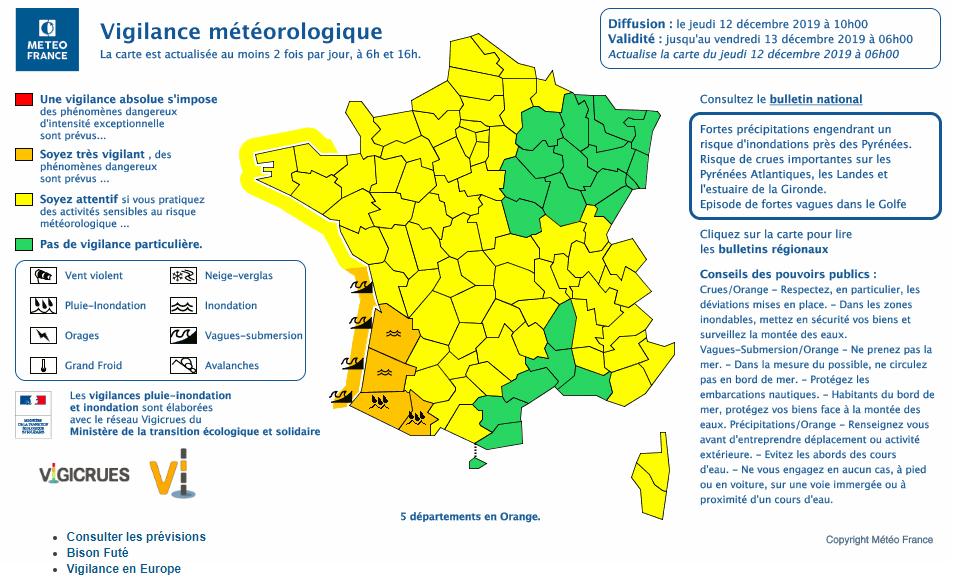 Carte Météo France prévision Aunis Charente-Maritime
