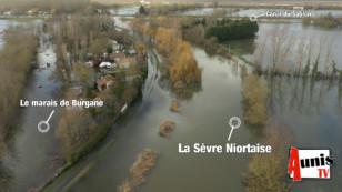Vidéo aérienne exceptionnelle. Inondations : La Sèvre Niortaise en Charente-Maritime prend ses aises