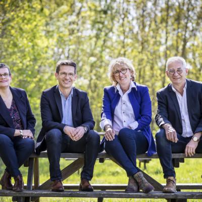 De gauche à droite, Nadia Boireau, Jean-Pierre Servant, Valérie Amy-Moie et Jean-Marie Bodin. Elections départementales Charente-Maritime